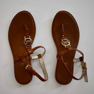 Michael Kors | Leather Sandals with Gold MK Logo